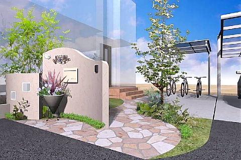 Rの塗り壁と植栽と石貼りアプローチ